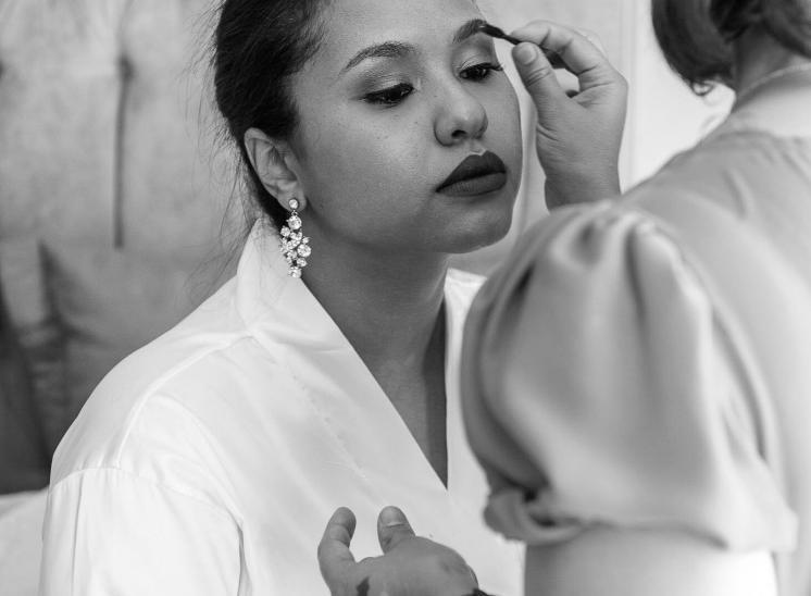 Getting ready for ceremony makeup