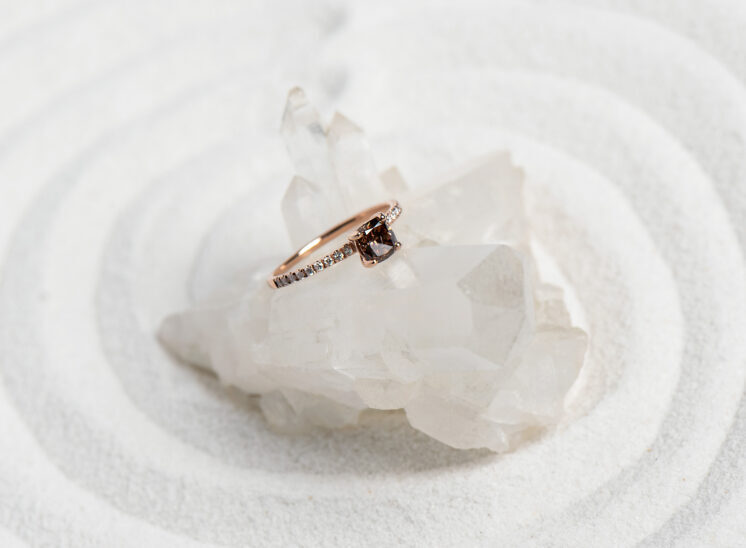 Rose gold brown Diamond ring in white sand and crystal